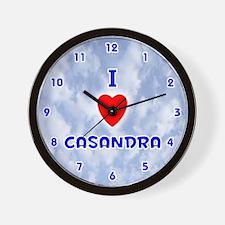 I Love Casandra (Blue) Valentine Wall Clock