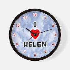 I Love Helen (Red/Blk) Valentine Wall Clock