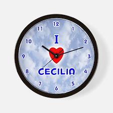 I Love Cecilia (Blue) Valentine Wall Clock