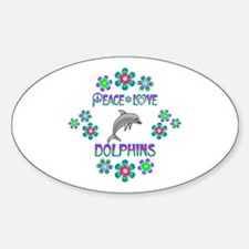 Peace Love Dolphins Sticker (Oval)
