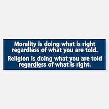 Morality v. Religion Bumper Car Car Sticker
