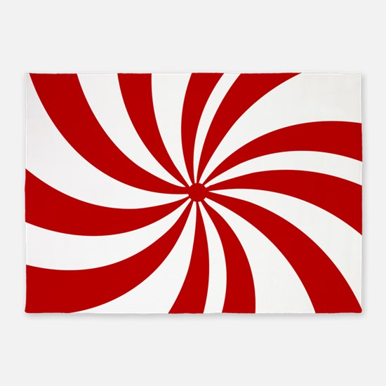 Xmas candy cane swirls 5'x7'Area Rug
