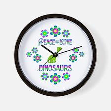 Peace Love Dinosaurs Wall Clock