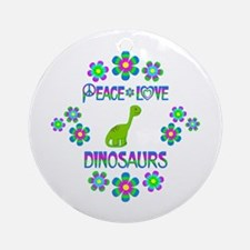Peace Love Dinosaurs Round Ornament