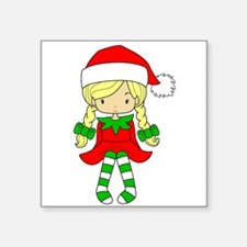 "Blonde Elf Girl Square Sticker 3"" x 3"""