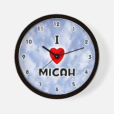 I Love Micah (Black) Valentine Wall Clock