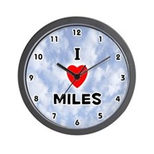 I Love Miles (Black) Valentine Wall Clock