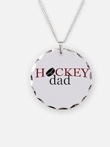Hockey Dad Necklace Circle Charm