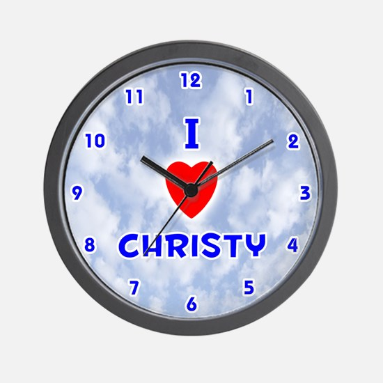 I Love Christy (Blue) Valentine Wall Clock