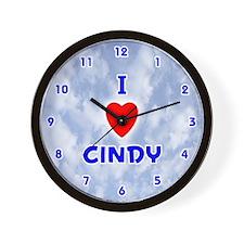 I Love Cindy (Blue) Valentine Wall Clock