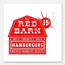 """Red Barn Square Car Magnet 3"""" x 3"""""""