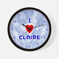 I Love Claire (Blue) Valentine Wall Clock