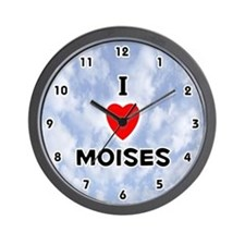 I Love Moises (Black) Valentine Wall Clock