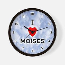 I Love Moises (Black) Valentine Wall Clock