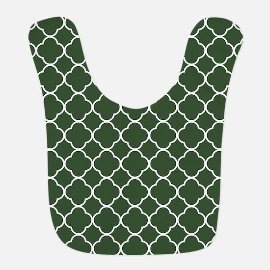 Green, Pine: Quatrefoil Clover Polyester Baby Bib