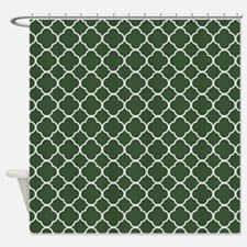 Green, Pine: Quatrefoil Clover Patt Shower Curtain