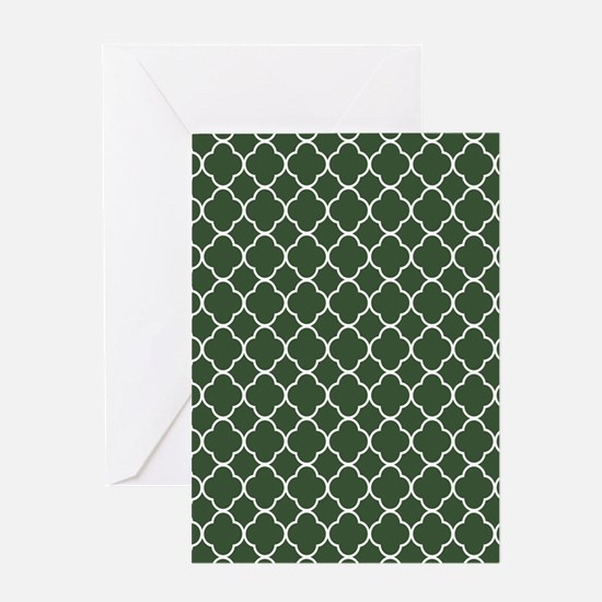 Green, Pine: Quatrefoil Clover Patte Greeting Card