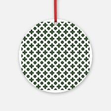 Green, Pine: Quatrefoil Stars & Cro Round Ornament