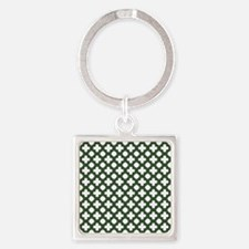 Green, Pine: Quatrefoil Stars & Cr Square Keychain
