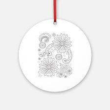 Flower Garden Galaxy Round Ornament