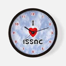 I Love Issac (Red/Blk) Valentine Wall Clock