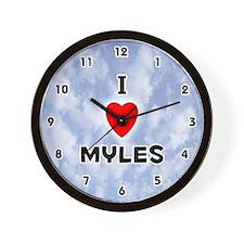 I Love Myles (Black) Valentine Wall Clock