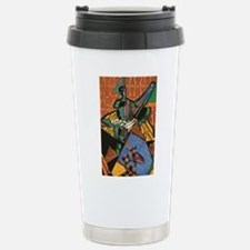 Violin and Checkerboard Stainless Steel Travel Mug