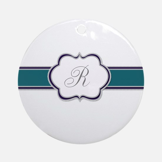 Elegant Monogram by LH Round Ornament