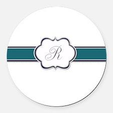 Elegant Monogram by LH Round Car Magnet