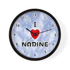I Love Nadine (Black) Valentine Wall Clock