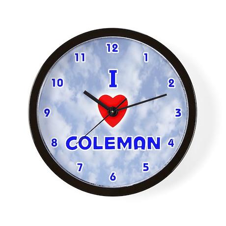 I Love Coleman (Blue) Valentine Wall Clock