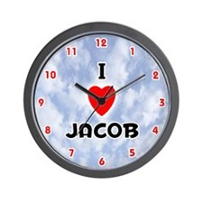 I Love Jacob (Red/Blk) Valentine Wall Clock