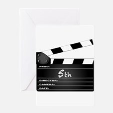 5th Year Clapperboard Greeting Cards