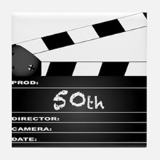 50th Year Clapperboard Tile Coaster