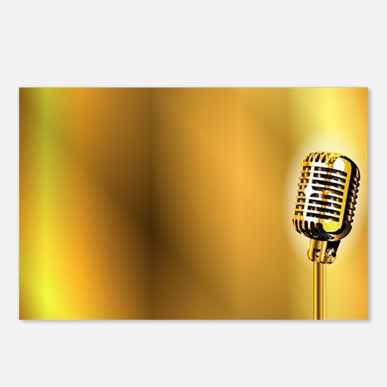 Gold Stage Microphone Bac Postcards (Package of 8)