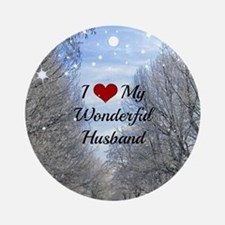 Cute My husband is a navy seal Round Ornament