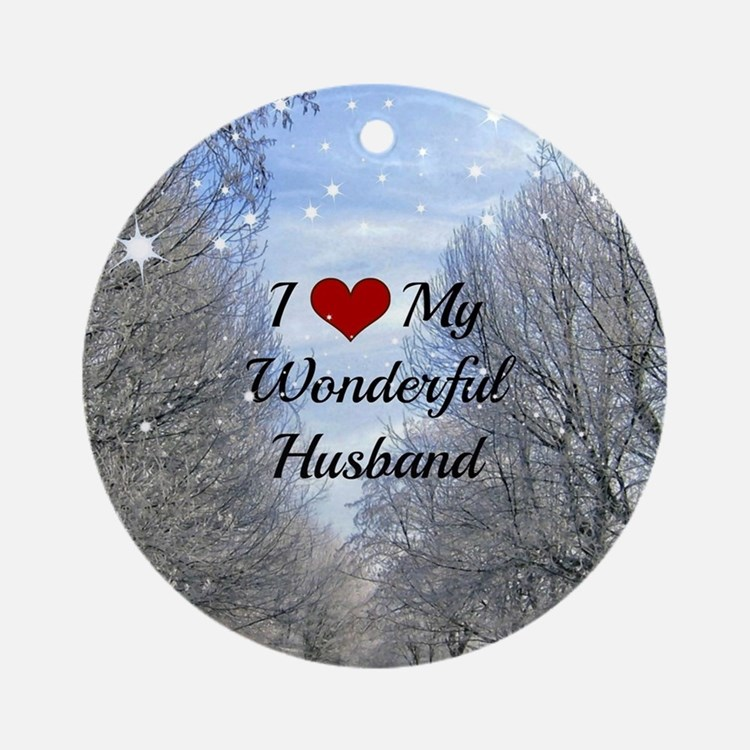 Cute My husband is my Round Ornament