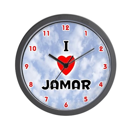 I Love Jamar (Red/Blk) Valentine Wall Clock