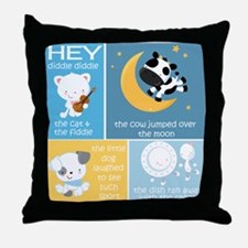 Hey Diddle Diddle Nursery Rhyme Throw Pillow