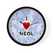 I Love Neal (Black) Valentine Wall Clock