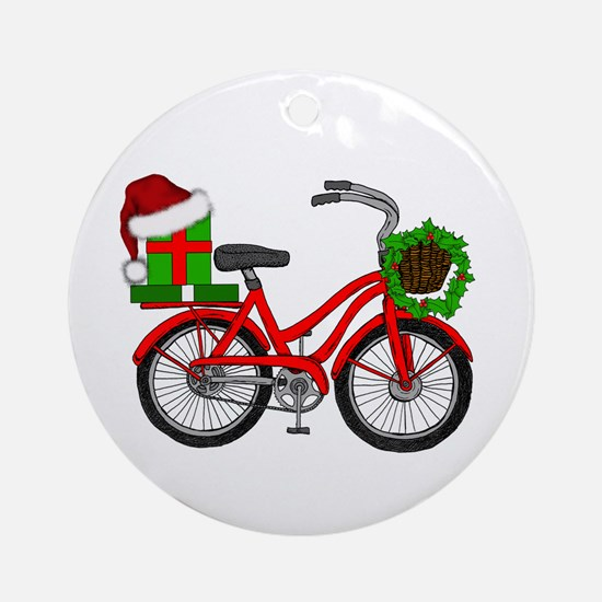 Christmas Bicycle Round Ornament