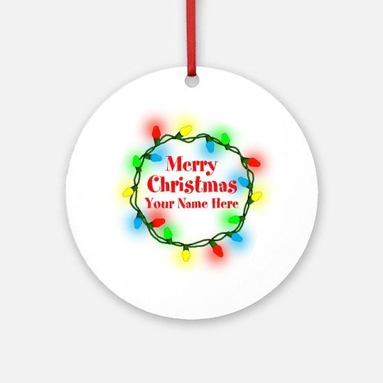 Christmas Lights Round Ornament