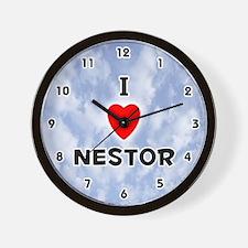 I Love Nestor (Black) Valentine Wall Clock