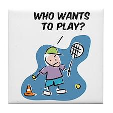 Funny Tile Coaster with tennis cartoon