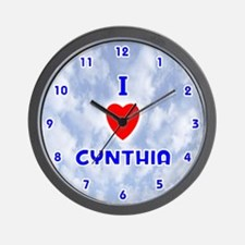 I Love Cynthia (Blue) Valentine Wall Clock