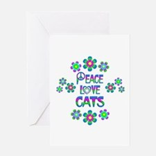 Peace Love Cats Greeting Card