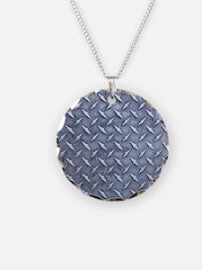 Steel Diamond Pattern Metal Grating Necklace