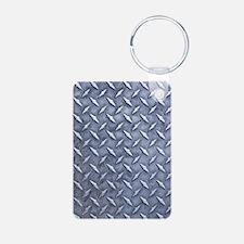 Steel Diamond Pattern Metal Grating Keychains