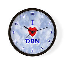 I Love Dan (Blue) Valentine Wall Clock