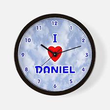 I Love Daniel (Blue) Valentine Wall Clock